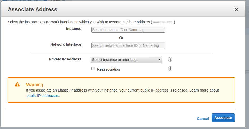 Image of panel to associate Elastic IP address